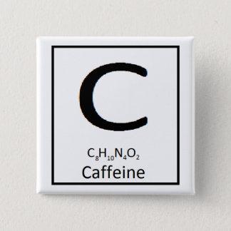 正方形のカフェインボタン、2 inに 5.1cm 正方形バッジ