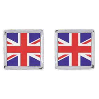 正方形のカフスボタンのイギリスの英国国旗 シルバー カフスボタン
