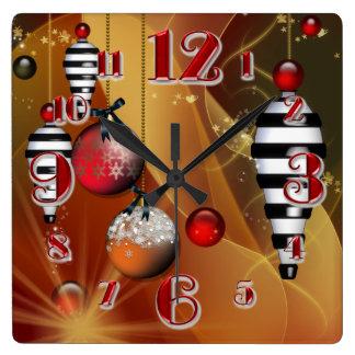 正方形のクリスマスのつまらないものの時計 スクエア壁時計