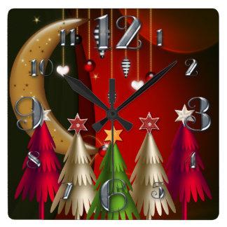 正方形のクリスマスツリーおよびつまらないものの時計 スクエア壁時計