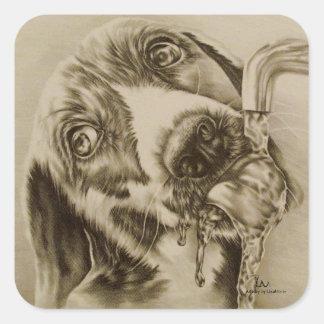 正方形のステッカーで飲む犬のスケッチ スクエアシール