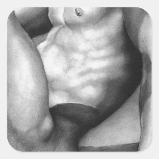 正方形のステッカーの正方形のステッカーのファインアートの裸体男性 スクエアシール