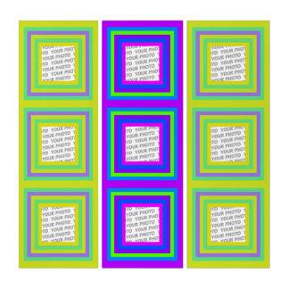 正方形のストライプなフレームの混合された色3 + あなたの写真 トリプティカ