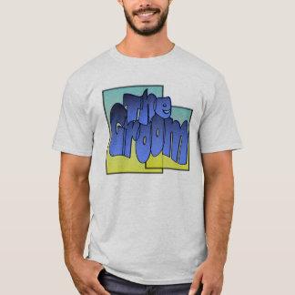 正方形のスポットライト(1)の廃船体のスタイルライトの新郎 Tシャツ