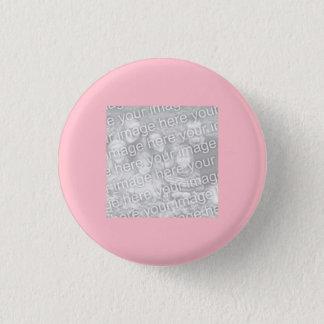 正方形のピンクのボーダー写真 缶バッジ