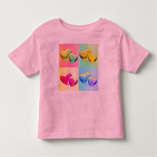 正方形のワイシャツの2つのハート トドラーTシャツ