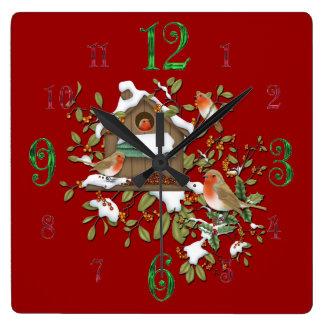 正方形の冬のロビンの鳥の家の柱時計 スクエア壁時計