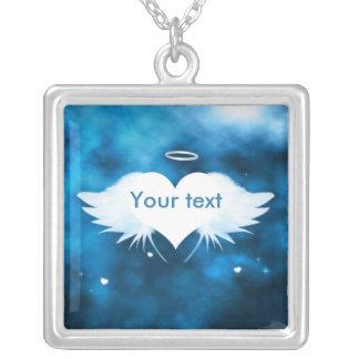 正方形の吊り下げ式のネックレス-ハートの天使 シルバープレートネックレス