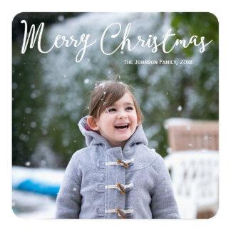 正方形の名前入りな写真のクリスマスカードの挨拶 カード