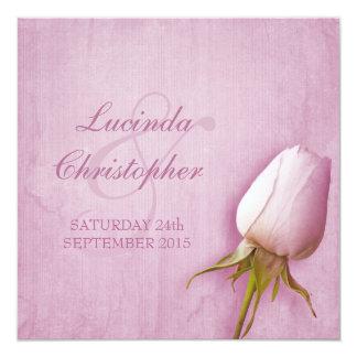 正方形の招待を結婚する紫色のバラの芽の薄紫 カード