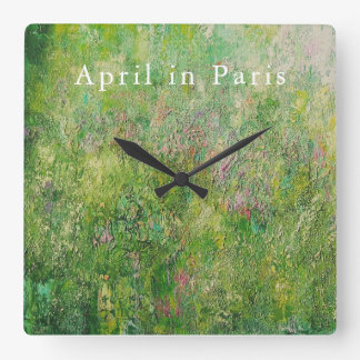 正方形の時計: パリの4月 スクエア壁時計