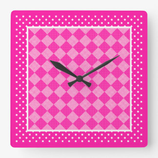 正方形の柱時計、キャンデーのピンク、水玉模様 スクエア壁時計