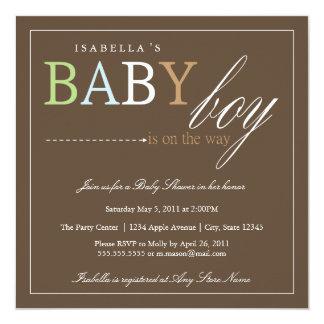 正方形の男の赤ちゃん|のベビーシャワーの招待 カード