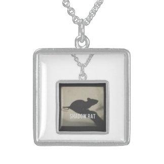 正方形の純銀製のペンダントかネックレス スターリングシルバーネックレス