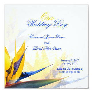 正方形の結婚式プログラムのテンプレート極楽鳥 カード