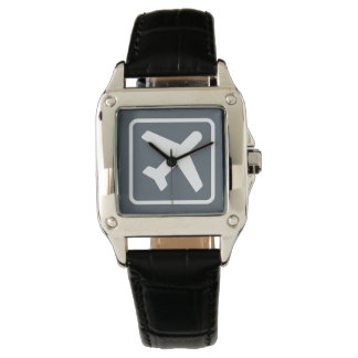 正方形の航空テーマの飛行機アイコン旅行腕時計 腕時計