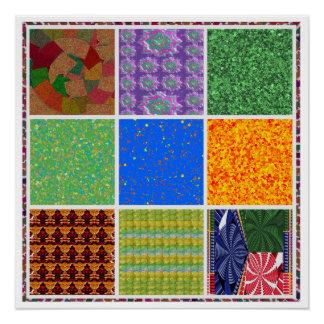 正方形の芸術: 写実的なコラージュの装飾の芸術デジタル ポスター