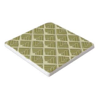 正方形の葉パターン金ゴールドのライムライト トリベット