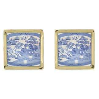 正方形の金ゴールドによってめっきされるフレームの青いヤナギのカフスボタン ゴールド カフスボタン