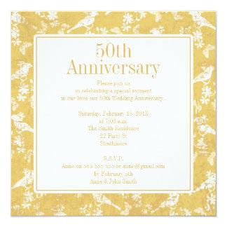 正方形の金5oth結婚記念日の招待状 カード