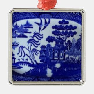 正方形の青いヤナギのオーナメントはあなたの木をつけます メタルオーナメント