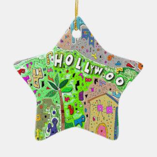 正方形のHollywood Hills セラミックオーナメント