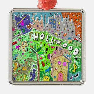 正方形のHollywood Hills メタルオーナメント