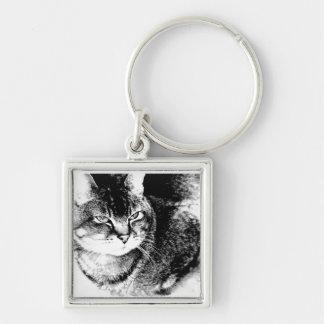 正方形のKeychain -用心深い猫! キーホルダー