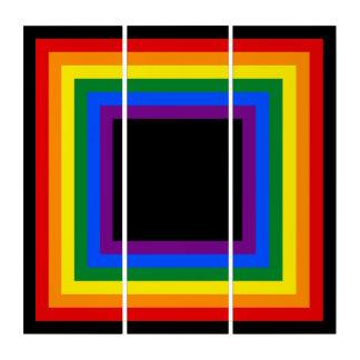 正方形ストライプなフレームの虹 + あなたのbackgr。 及びアイディア トリプティカ
