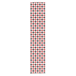 正方形パターン黒の赤い白 + あなたのアイディア ショートテーブルランナー