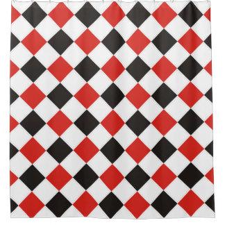 正方形パターン黒の赤い白 + あなたのbackgr. シャワーカーテン