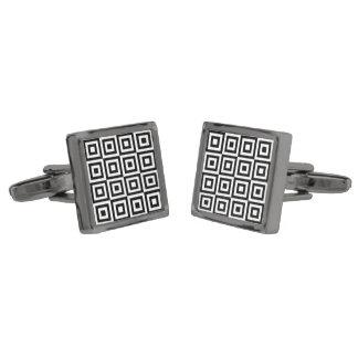 正方形パターン(白黒)正方形のカフスボタン ガンメタルカフスボタン