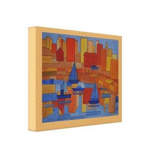 正方形港の抽象美術 キャンバスプリント