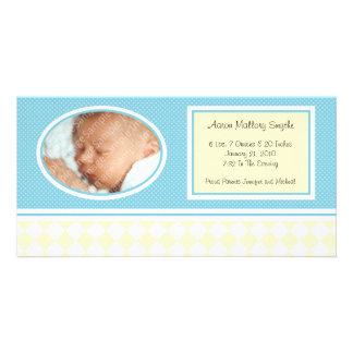 正気でない点検の男の子の新生児の誕生の写真カード カード