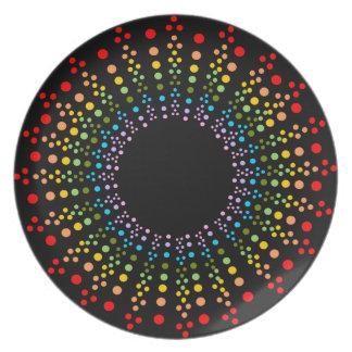 正気でない虹のスターバストのブラックプレート プレート