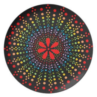 正気でない虹のスターバストのブラックプレート + 赤い花 プレート