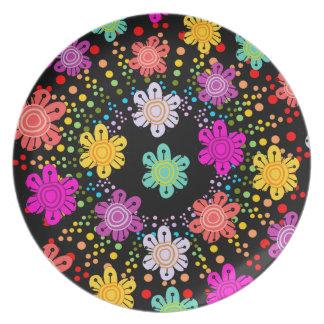 正気でない虹のスターバスト + 装飾的な花のプレート プレート