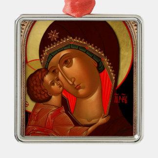 正統のクリスマスのオーナメント- Novgorod Theotokos メタルオーナメント