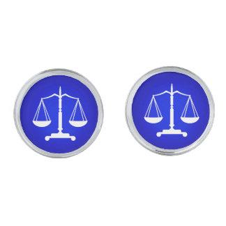 正義の白く青いスケール 銀色 カフリンク
