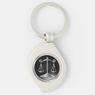 正義|の法律の黒く、銀製のスケール キーホルダー