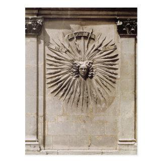 正面からの太陽のレリーフ、浮き彫り ポストカード
