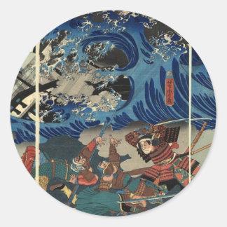 武士およびモンゴル人の古代日本のな絵画 ラウンドシール