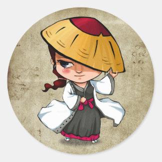 武士および忍者のステッカー- Murasaki ラウンドシール