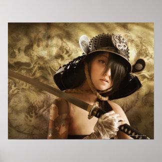 武士として服を着るアジア女性 ポスター