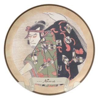 武士としてKatsukawa Shunsho第3 Otani Oniji プレート