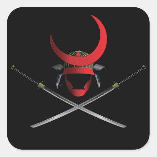 武士のヘルメットおよび剣 正方形シール