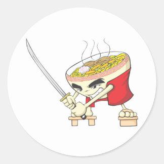 武士の剣が付いている日本のなヌードル・スープの戦闘機 ラウンドシール