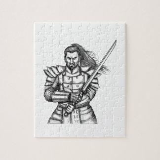 武士の戦士の戦いのスタンスの入れ墨 ジグソーパズル