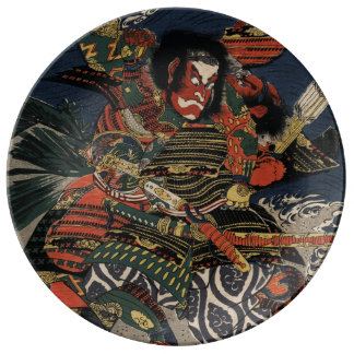 武士の戦士TadanoriおよびNoritsune 磁器プレート