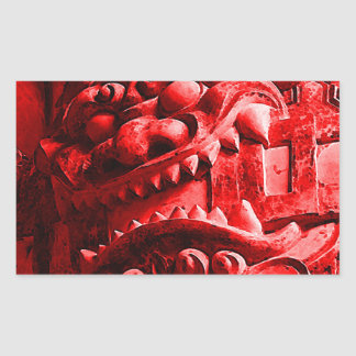 武士のOniのマスクの赤鬼 長方形シール